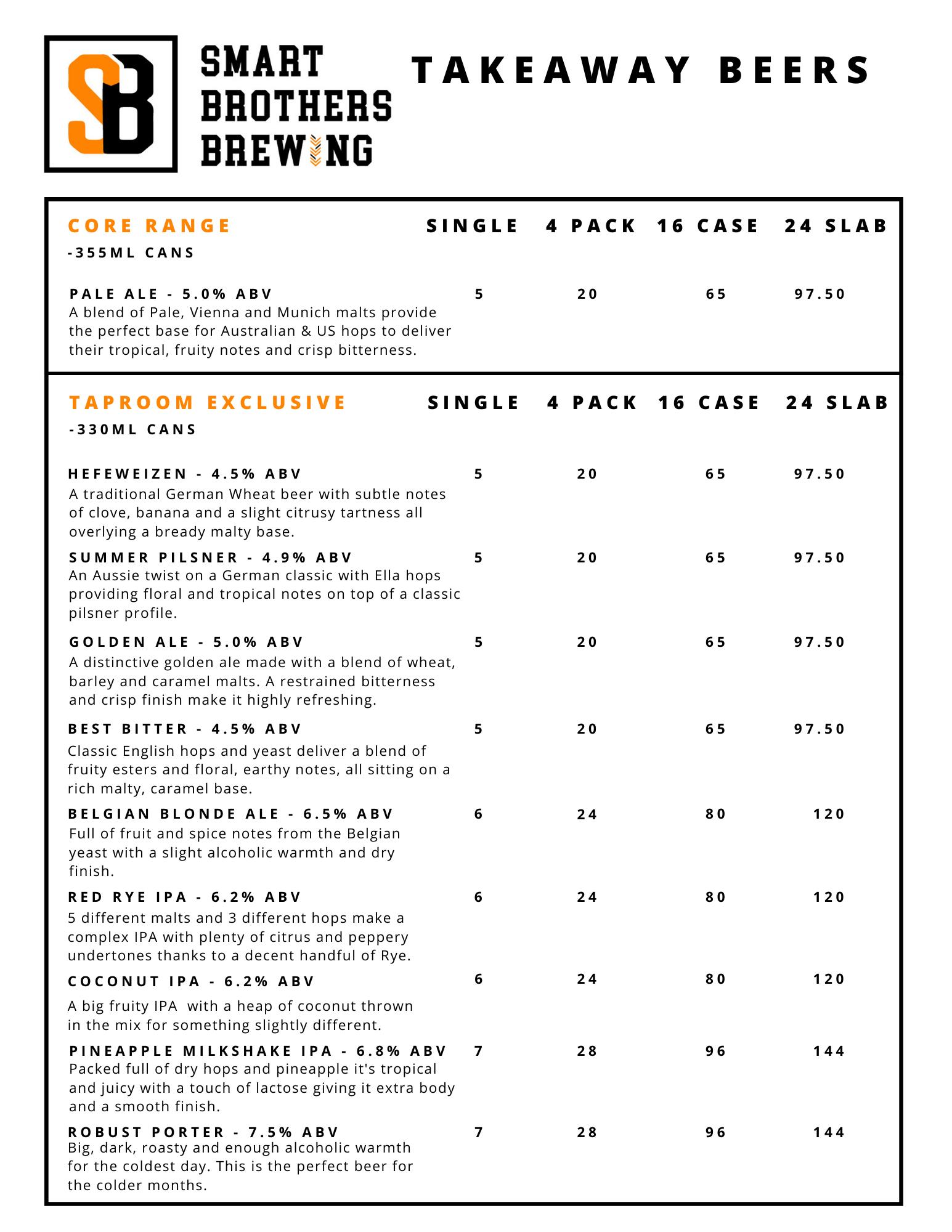 Takeaway Beer list July 2021